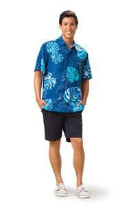 Monstera Waves II - Blueberry Kai Mens Classic Shirt (Large)