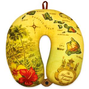 Microfiber Neck Pillow - Islands of Hawaii (Tan)
