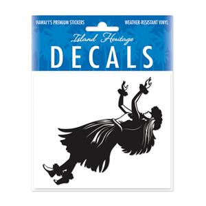 Decal Small Oblong, Hula Wahine Black